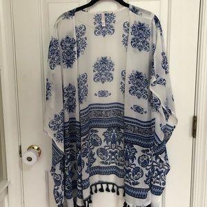 Sheer white and blue kimono